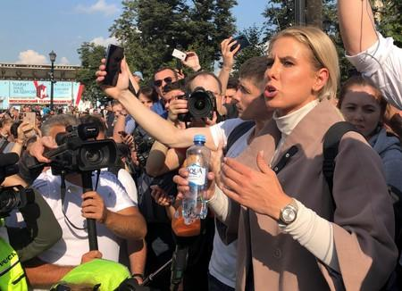 Russian opposition figure Sobol attends a rally to demand free elections in Moscow