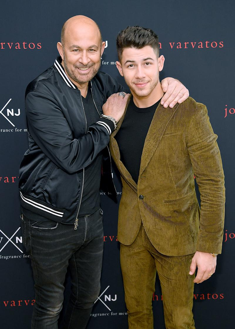 John Varvatos and Nick Jonas at the launch of their new fragrance, JVxNJ Silver Edition, on November 7.