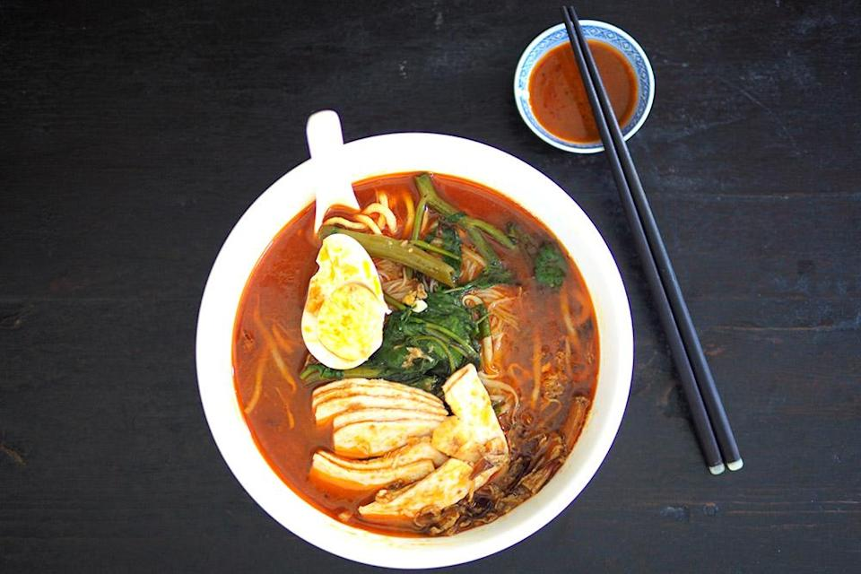 The prawn mee is a crowd favourite for the fragrant broth heavily laced with reddish oil.