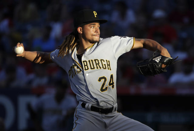 Pittsburgh Pirates starting pitcher Chris Archer throws to a Los Angeles Angels batter during the fifth inning of a baseball game Wednesday, Aug. 14, 2019, in Anaheim, Calif. (AP Photo/Marcio Jose Sanchez)