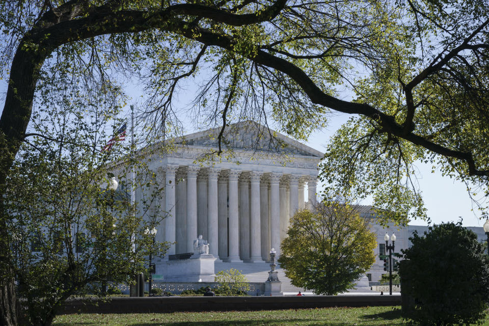 The Supreme Court is seen on Election Day, Tuesday, Nov. 3, 2020, in Washington. President Donald Trump says he's planning an aggressive legal strategy to try prevent Pennsylvania from counting mailed ballots that are received in the three days after the election, a matter that could find its way to the high court. (AP Photo/J. Scott Applewhite)