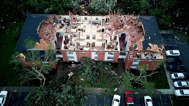 This aerial photo shows tornado damage at the Westbrooke Village Apartment complex in Trotwood, Ohio, May 28, 2019.