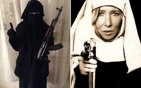 Sally Jones, left in a burqa holding a gun, and right in a nun's habit - Credit: Twitter
