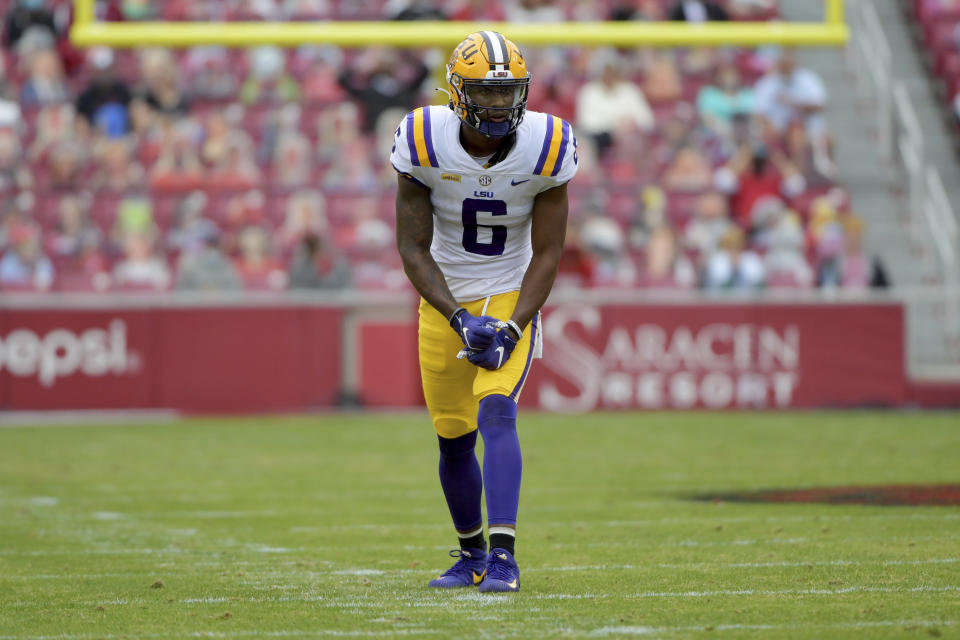 LSU WR Terrace Marshall Jr. has been a massive TD producer the past two seasons. (AP Photo/Michael Woods)