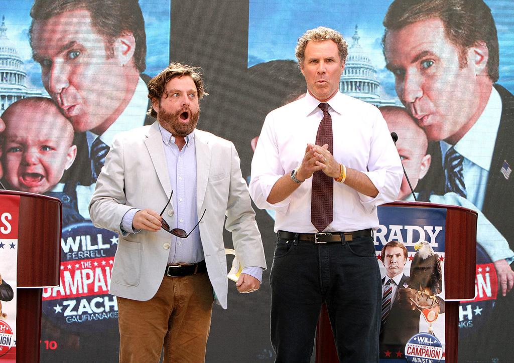"""Would you vote for either of these guys? We probably wouldn't, either! But Zach Galifianakis and Will Ferrell will be playing opponents running for congressional office in the upcoming comedy """"The Campaign."""" The funny guys hammed it up at outdoor Los Angeles mall The Grove on Tuesday as part of a fake whistle stop campaign tour to promote the film, which hits theaters on August 10. (7/17/2012)"""