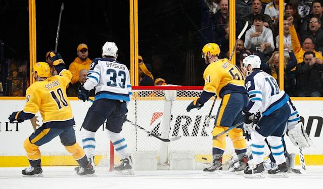 Austin Watson (51) scores the first of two short-handed goals, 34 seconds before  <span>Viktor Arvidsson completed a little piece of</span> franchise history.
