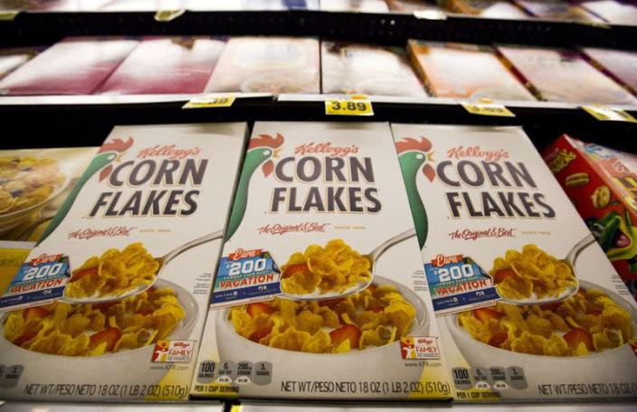FILE PHOTO: Kellogg's Corn Flakes cereal is pictured at a Ralphs grocery store in Pasadena