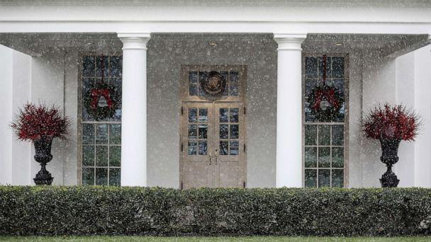PHOTO: A mix of rain and snow falls outside the West Wing of the White House in Washington, D.C., Dec. 16, 2020. (Oliver Contreras/EPA via Shutterstock)