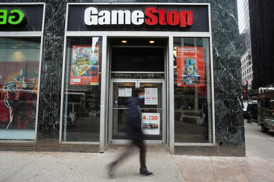 A GameStop store is pictured amid the coronavirus disease (COVID-19) pandemic in the Manhattan borough of New York City, New York, U.S., January 27, 2021. REUTERS/Carlo Allegri