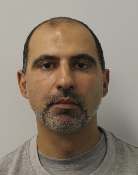 This undated Metropolitan Police photo shows Ouissem Medouni. A jury at London's Central Criminal Court convicted 40-year-old Ouissem Medouni and 35-year-old Sabrina Kouider on Thursday May 24, 2018 after six days of deliberation. The couple were found guilty of murdering their French nanny and burning her body on a bonfire in their London backyard. (Metropolitan Police via AP)