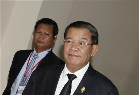 Prime Minister Hun Sen arrives at the National Assembly for a meeting in central Phnom Penh
