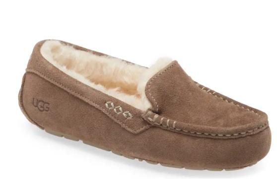 This soft and durable moccasin slipper is water resistant. (Image via Ugg)