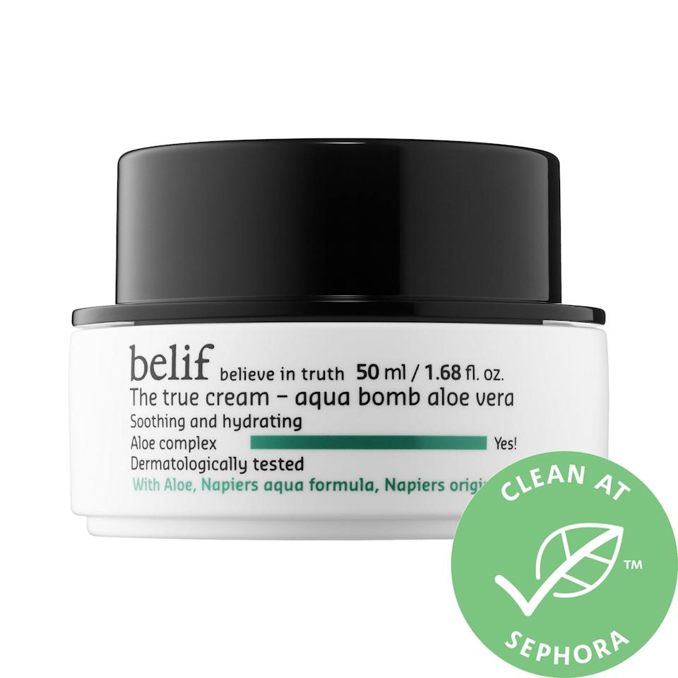 """<p><a href=""""https://www.popsugar.com/buy/Belif-True-Cream-Aqua-Bomb-Aloe-Vera-572827?p_name=Belif%20The%20True%20Cream%20Aqua%20Bomb%20Aloe%20Vera&retailer=sephora.com&pid=572827&price=38&evar1=bella%3Aus&evar9=47461551&evar98=https%3A%2F%2Fwww.popsugar.com%2Fbeauty%2Fphoto-gallery%2F47461551%2Fimage%2F47461557%2FBelif-True-Cream-Aqua-Bomb-Aloe-Vera&list1=sephora%2Cdry%20skin%2Cacne%2Csensitive%20skin%2Cbeauty%20shopping%2Cskin%20care&prop13=mobile&pdata=1"""" class=""""link rapid-noclick-resp"""" rel=""""nofollow noopener"""" target=""""_blank"""" data-ylk=""""slk:Belif The True Cream Aqua Bomb Aloe Vera"""">Belif The True Cream Aqua Bomb Aloe Vera</a> ($38) is rich in soothing aloe vera <em>and</em> anti-inflammatory lady's mantle. But, perhaps the best part comes when this moisturizer is stored in the fridge and applied as a five-minute hydrating mask (after the protective one comes off).</p>"""