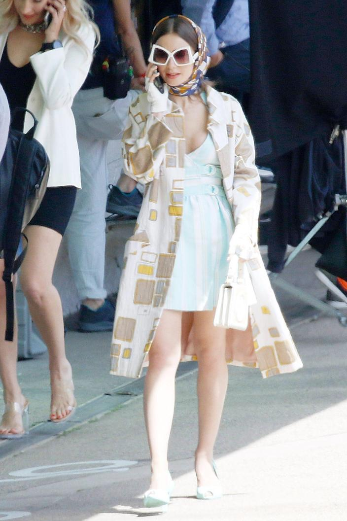 <p>Lily Collins heads back in front of the camera to film season 2 of <em>Emily in Paris</em> on Monday in the South of France.</p>