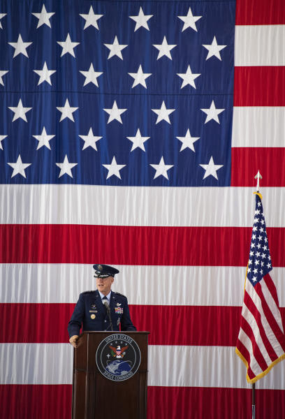 Gen. John W. Raymond, the commander of the U.S. Space Command, speaks Monday, Sept. 9, 2019, during a ceremony to recognize the establishment of the United States Space Command at Peterson Air Force Base in Colorado Springs, Colo. (Christian Murdock)/The Gazette via AP)