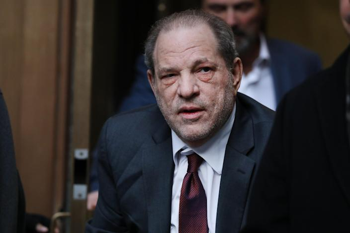 Harvey Weinstein, pictured outside of court in February, has been sentenced in his rape trial. (Photo: Spencer Platt/Getty Images)
