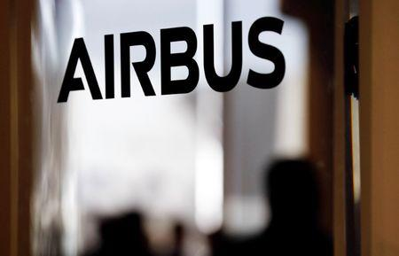 An Airbus logo is pictured during the delivery of the new Airbus A380 aircraft to Singapore Airlines at the French headquarters of aircraft company Airbus in Colomiers