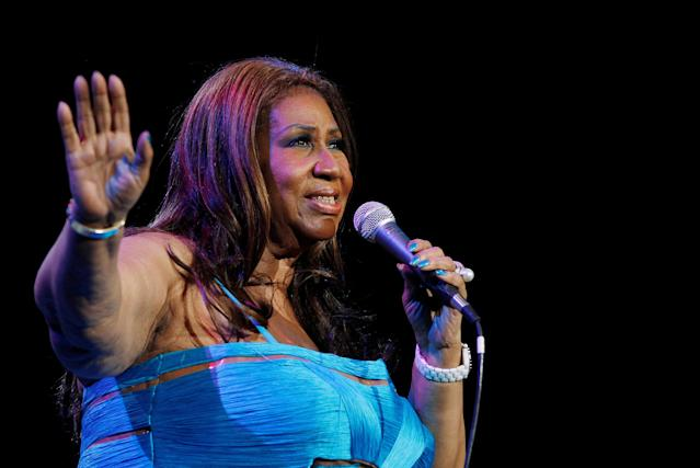 <p>FILE PHOTO – Singer Aretha Franklin performs at Radio City Music Hall in New York in this February 17, 2012. REUTERS/Shannon Stapleton/File Photo </p>