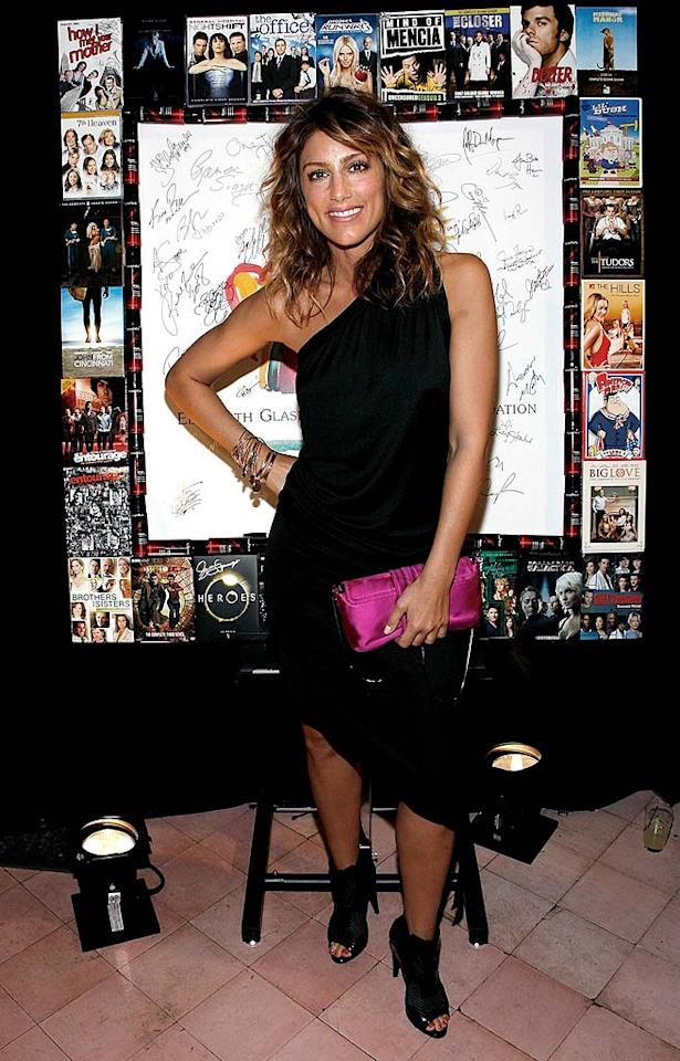 """""""Samantha Who?"""" star Jennifer Esposito adds a dash of color to her all-black ensemble with a hot pink purse. The one-shoulder dress is cute, but we're not digging the granny ankle peep-toe booties. Joe Kohen/<a href=""""http://www.wireimage.com"""" target=""""new"""">WireImage.com</a> - May 13, 2008"""