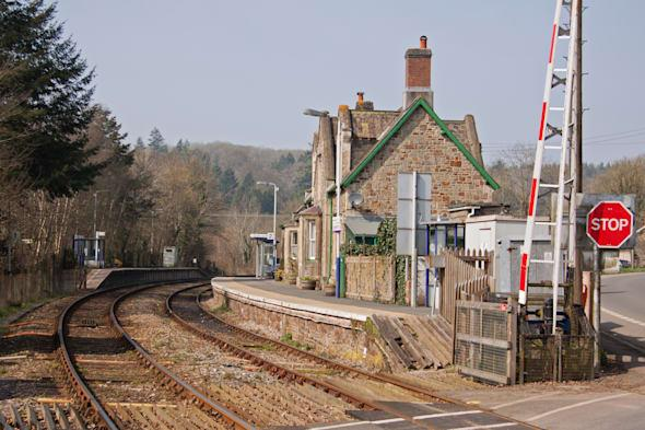 The old railway station building at Eggesford in mid Devon UK on the picturesque line running through the heart of Devon linking