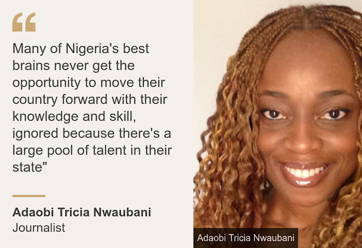 """""""Many of Nigeria's best brains never get the opportunity to move their country forward with their knowledge and skill, ignored because there's a large pool of talent in their state"""""""", Source: Adaobi Tricia Nwaubani, Source description: Journalist, Image: Adaobi Tricia Nwaubani"""