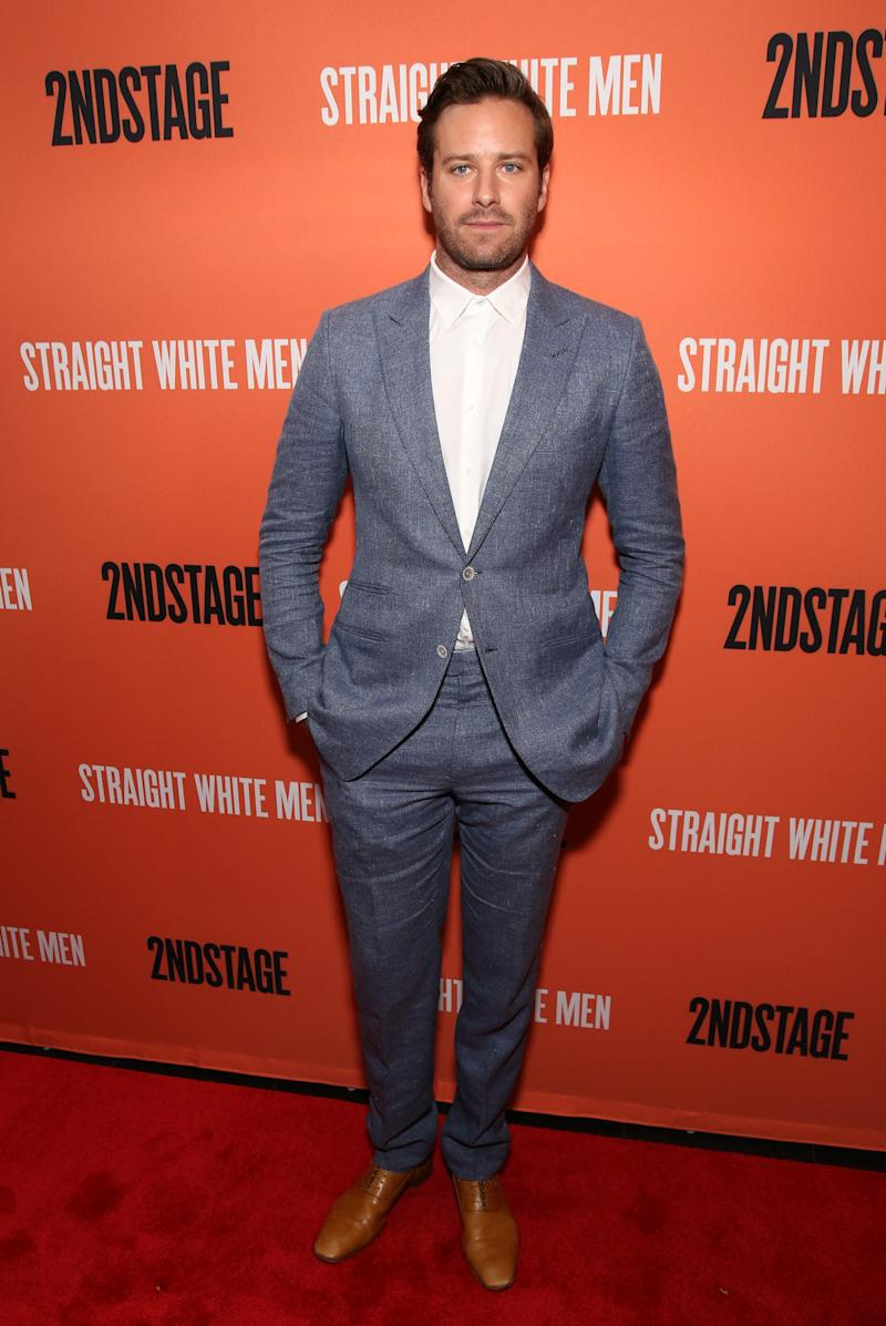 Armie Hammer attends the Broadway opening night afterparty for Straight White Men at DaDong on July 23, 2018, in New York City.