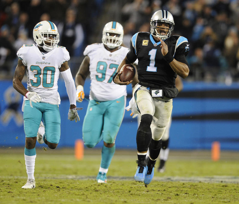 Cam Newton and the Panthers ran past the Dolphins on Monday night. (AP)