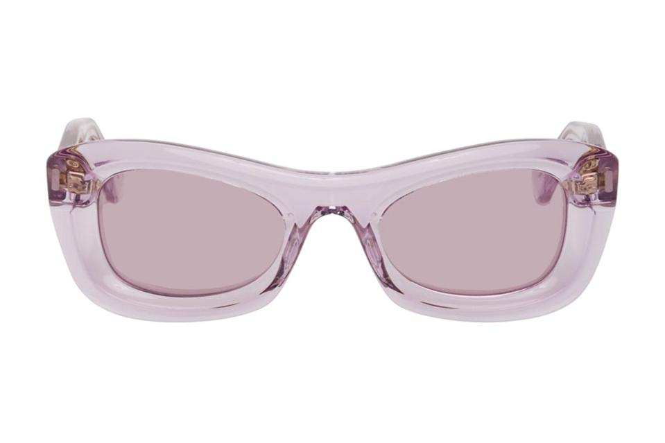 """<p>A truly eye-catching pair of sunglasses can carry an entire outfit when all you can think to wear is a plain white tee and some jeans.</p> <p><em>Jacques Marie Mage """"Whiskeyclone"""" sunglasses</em></p> $485, Mr Porter. <a href=""""https://www.ssense.com/en-us/men/product/bottega-veneta/purple-animations-sunglasses/6907141"""" rel=""""nofollow noopener"""" target=""""_blank"""" data-ylk=""""slk:Get it now!"""" class=""""link rapid-noclick-resp"""">Get it now!</a>"""
