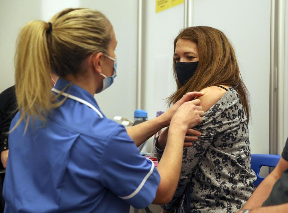 <p>Caroline Nicolls was one of the first people in England to receive the Moderna jab</p> (PA)