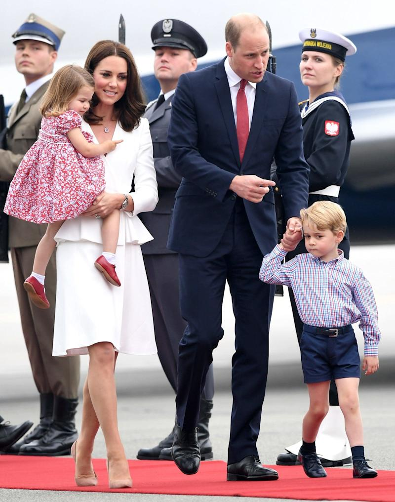 The Duke and Duchess of Cambridge arrive in Warsaw with their children on the first day of their tour of Poland - Credit: Samir Hussein/WireImage