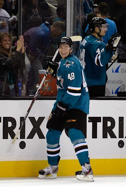 Tomas Hertl of the San Jose Sharks celebrates after he scored his fourth goal of the game against the New York Rangers at SAP Center in San Jose, California, on October 8, 2013
