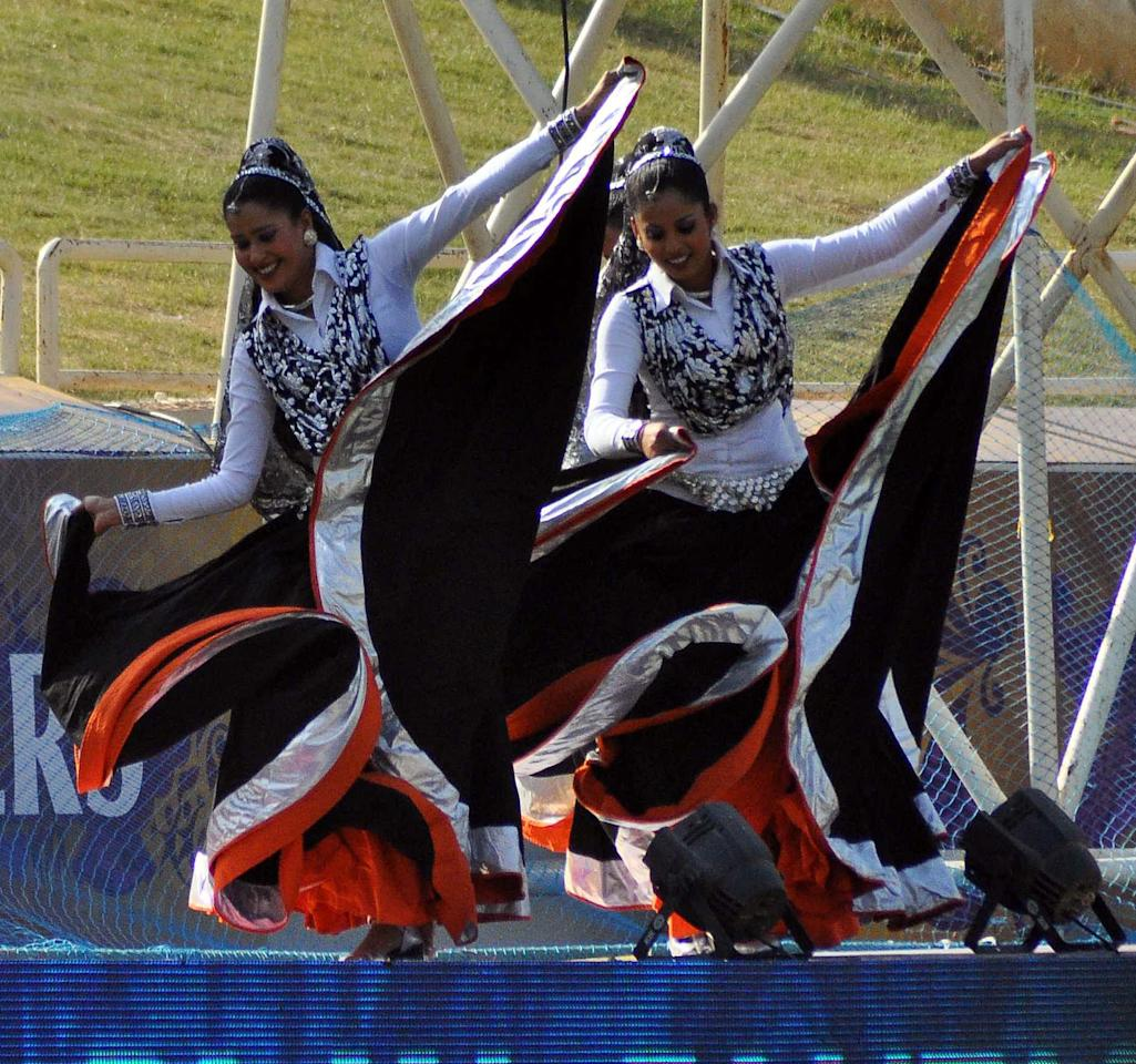 Cheerleaders during the match between KKR and Pune Warriors at JSCA Stadium, Ranchi on May 15, 2013. (Photo: IANS)