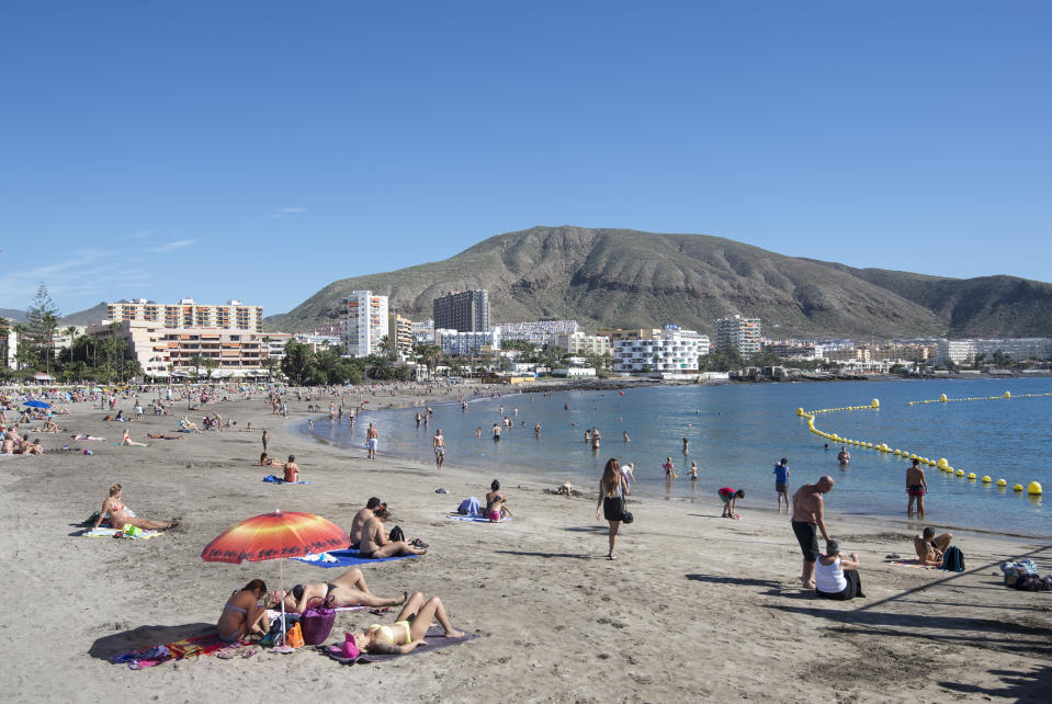 General view of Playa de los Cristianos in Tenerife, Spain.