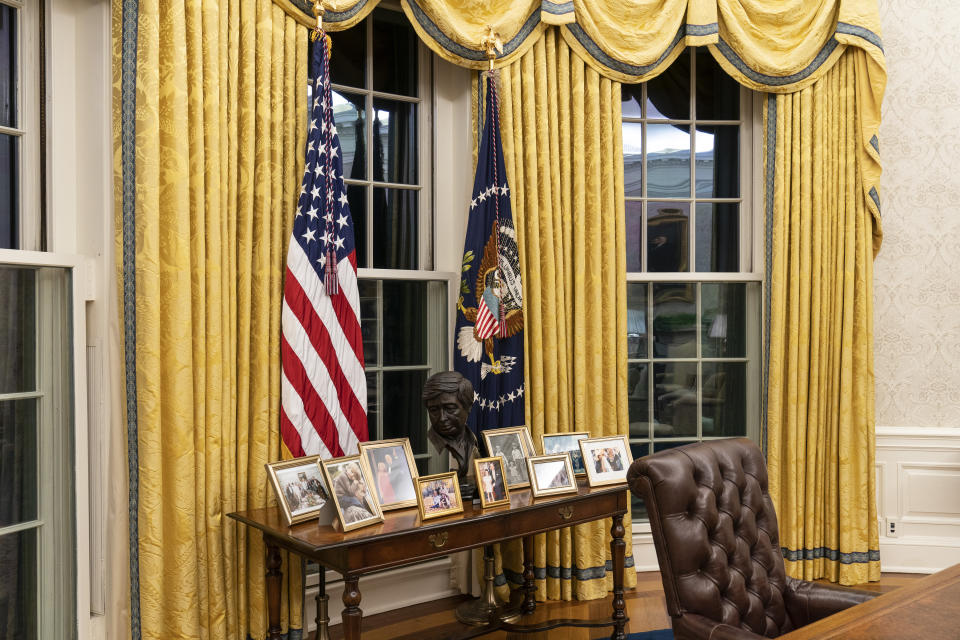 The Oval Office of the White House has been redecorated for Biden's tenure. Source: AP