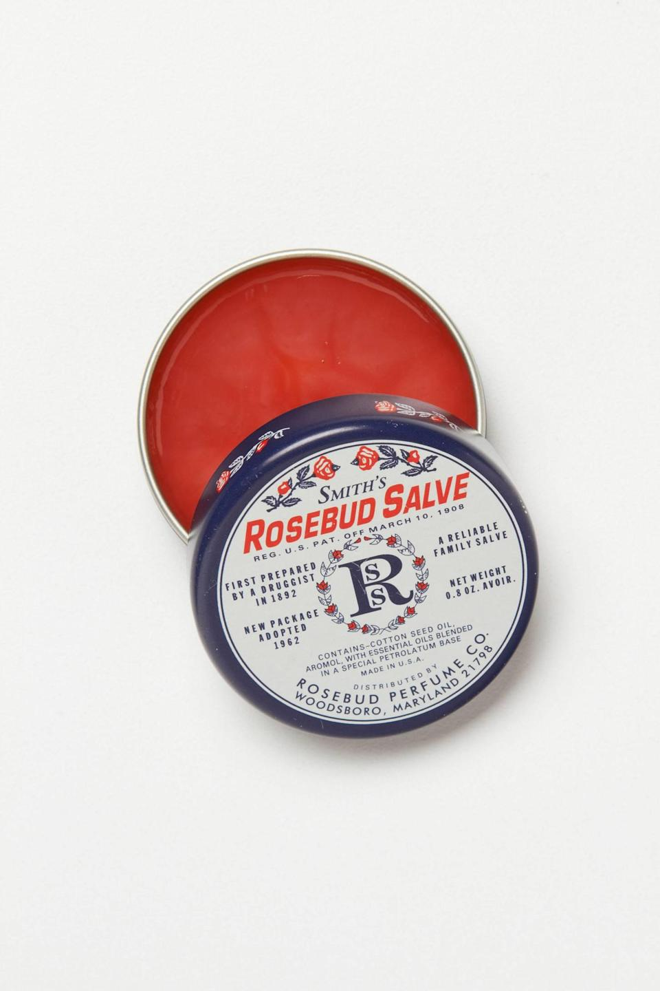 """<h3>Smith's Rosebud Salve</h3><br>This formula <a href=""""https://www.refinery29.com/en-us/smiths-rosebud-salve-history"""" rel=""""nofollow noopener"""" target=""""_blank"""" data-ylk=""""slk:has been around since 1895"""" class=""""link rapid-noclick-resp"""">has been around since 1895</a>, and for good reason: It's the ultimate multitasker that can be used to tame frizz or baby hairs, add a hint of color to cheekbones, soothe dry cuticles, and yes, repair chapped lips.<br><br><strong>Smith's</strong> Rosebud Salve, $, available at <a href=""""https://go.skimresources.com/?id=30283X879131&url=https%3A%2F%2Fwww.anthropologie.com%2Fshop%2Fsmiths-rosebud-salve"""" rel=""""nofollow noopener"""" target=""""_blank"""" data-ylk=""""slk:Anthropologie"""" class=""""link rapid-noclick-resp"""">Anthropologie</a>"""