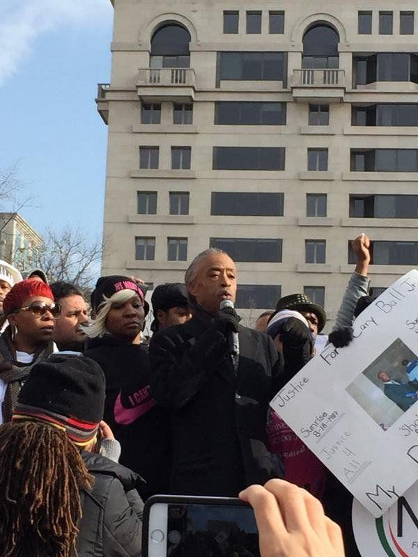 Al Sharpton speaks to protesters gathered in Freedom Plaza on Dec. 13, 2014.