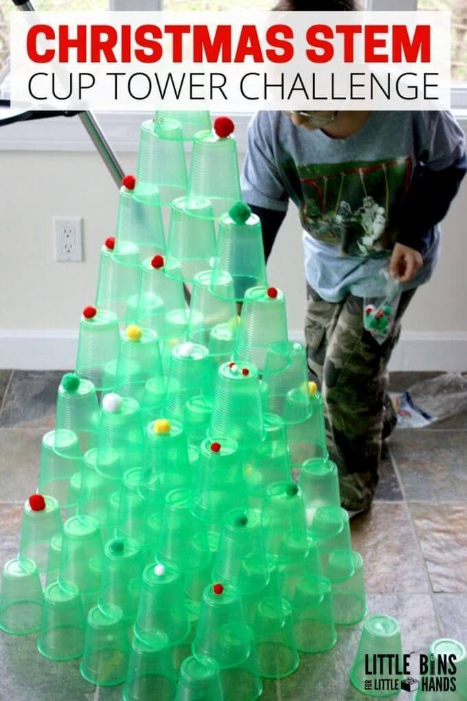 """<p>Grab some green plastic cups and pom poms for a crafty game that comes together in seconds. Challenge players to stack the cups high enough to look like a Christmas tree without knocking over the whole thing. The most towering fir wins the day. Save the cups to use again later, for a """"green"""" game. </p><p><em><a href=""""http://littlebinsforlittlehands.com/christmas-cup-tower-stem-challenge-tree/"""" rel=""""nofollow noopener"""" target=""""_blank"""" data-ylk=""""slk:Get the tutorial at Little Bins for Little Hands »"""" class=""""link rapid-noclick-resp"""">Get the tutorial at Little Bins for Little Hands »</a></em><br></p>"""