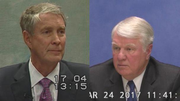 Former U.S. Senators Bill Frist (left) and former U.S. Navy Officer Admiral Gary Roughead (right) are seen here during 2017 depositions. (Obtained by ABC News)
