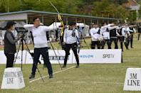South Korean archers compete during the final round of the national archery team trials for the Tokyo 2020 Olympic Games at Wonju