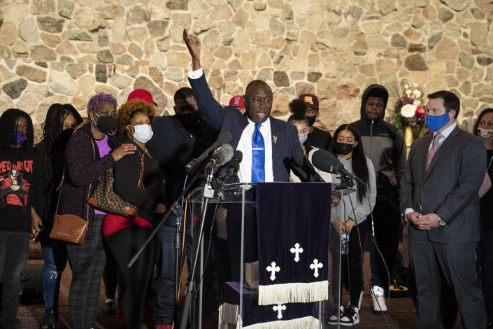 Attorney Ben Crump speaks alongside members of the deceased Daunte Wright's family during a news conference at New Salem Missionary Baptist Church, Thursday, April 15, 2021, in Minneapolis. (AP Photo/John Minchillo)