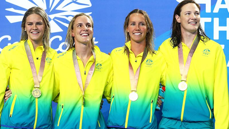 Shayna Jack, Bronte Campbell, Emma Mckeon and Cate Campbell after winning gold in the Women's 4 x 100m Freestyle at the 2018 Commonwealth Games. (Photo by Clive Rose/Getty Images)