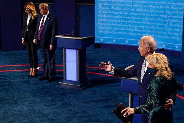 PHOTO: Left to right, first lady Melania Trump, President Donald Trump, Democratic presidential candidate former Vice President Joe Biden and his wife Jill Biden at the conclusion of the first presidential debate, Sept. 29, 2020. (Morry Gash/AP)