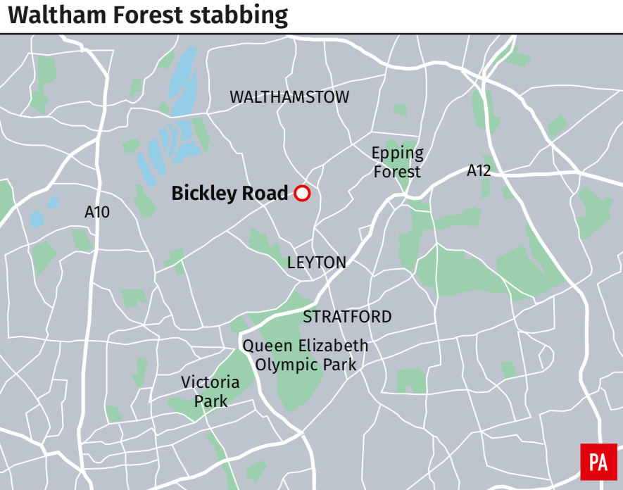 <em>The stabbing took place in Waltham Forest on Tuesday evening (PA)</em>
