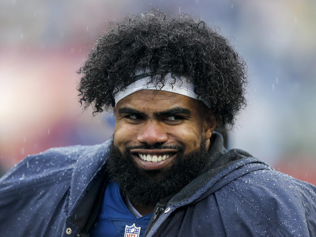 Ezekiel Elliott of the Dallas Cowboys on the sidelines at the NFL Pro Bowl Game at Camping World Stadium on Jan. 27, 2019 in Orlando, Fla. (Don Juan Moore/Getty Images)