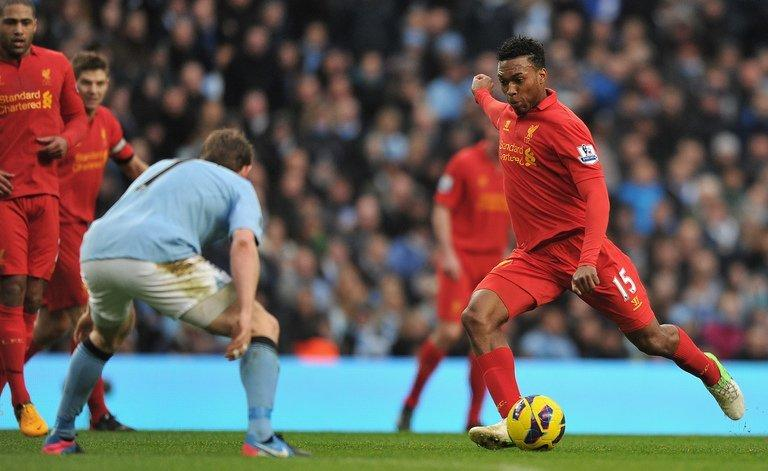 Daniel Sturridge about to score for Liverpool against Manchester City at The Etihad stadium on February 3, 2013