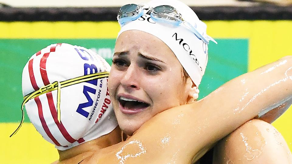 Kaylee McKeown was in tears after setting a new world record in the 100m backstroke at the Australian Olympic Trials on Sunday. (Photo by Mark Brake/Getty Images)