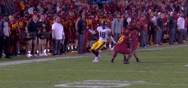 "Iowa recovered after the ball hit Iowa State's <a class=""link rapid-noclick-resp"" href=""/ncaaf/players/279094/"" data-ylk=""slk:Datrone Young"">Datrone Young</a> and won the game. (via Fox)"