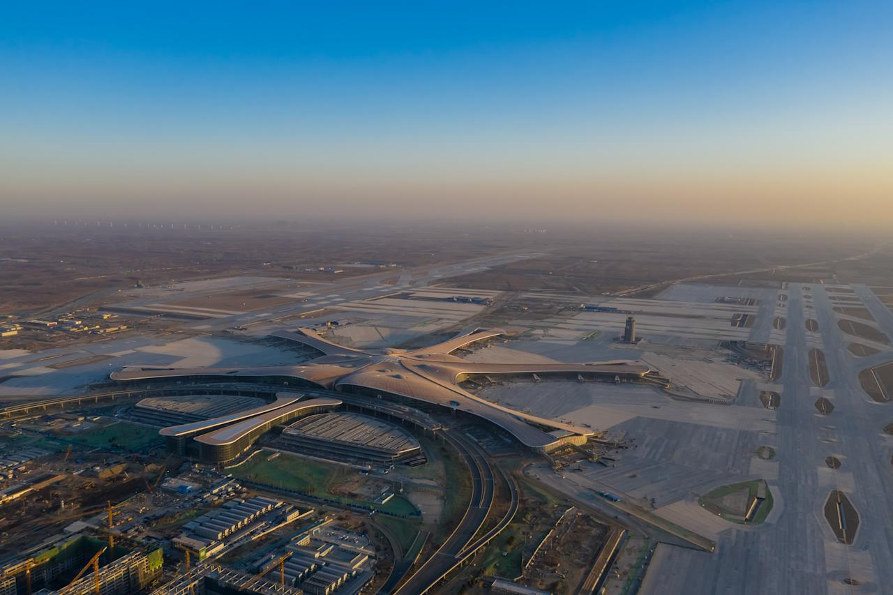 \Aerial view of the Beijing Daxing International Airport. (Photo by Mo Jiaxun/Visual China Group via Getty Images)