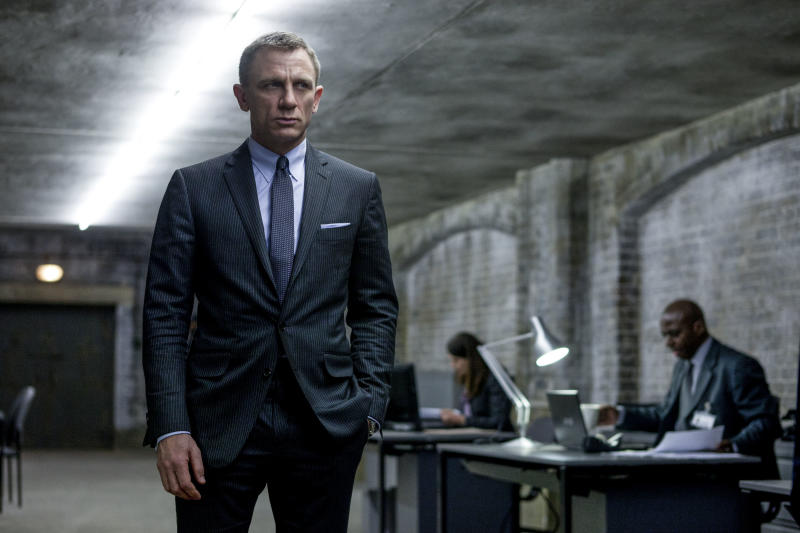 "This film image released by Sony Pictures shows Daniel Craig in a scene from the film ""Skyfall."" The super spy might be 50 years old on screen but he never wants to look out of date. It's a unique dressing challenge for a character that is simultaneously modern and timeless. Costume designer Jany Temime says her mantra for the entire wardrobe of ""Skyfall,"" which opens Friday, was ""iconic for 2012.""  (AP Photo/Sony Pictures, Francois Duhamel)"