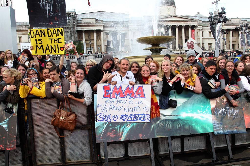 "Fans attend the London world premiere of <a href=""http://movies.yahoo.com/movie/1810004624/info"">Harry Potter and the Deathly Hallows - Part 2</a> on July 7, 2011."